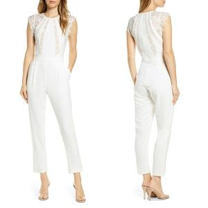 NEW Adelyn Rae Jessie Lace Inset Crepe Jumpsuit M